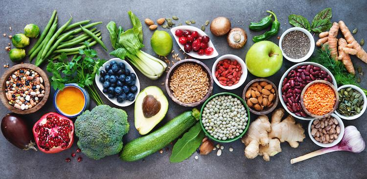 sélection d'aliments sains