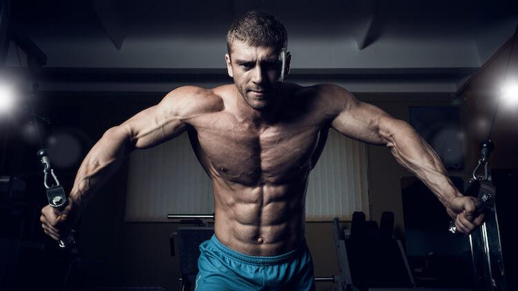 poitrine de bodybuilder mâle