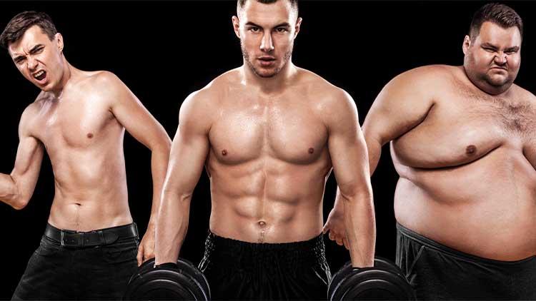 Groupe de trois jeunes sportifs - modèles de fitness tient l'haltère sur fond noir. Hommes gras, en forme et athlétiques