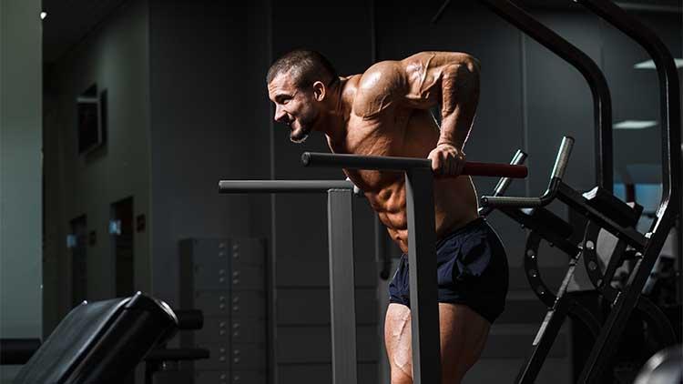 Bodybuilder musculaire travaillant dans un gymnase faisant des exercices de triceps sur des barres parallèles