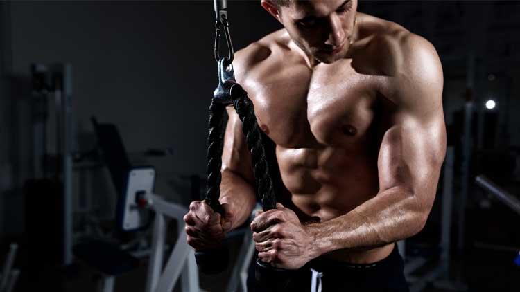 Triceps musclé jeune homme dans la salle de gym